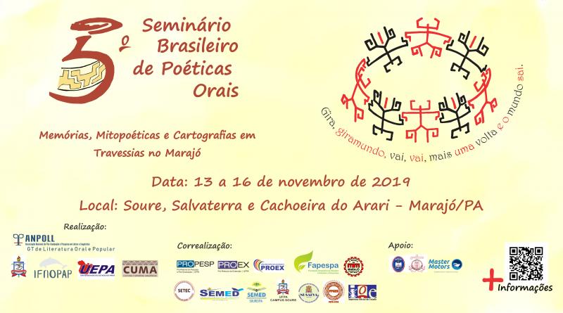 5º Seminário Brasileiro de Poéticas Orais – 13 a 16 de novembro de 2019 .